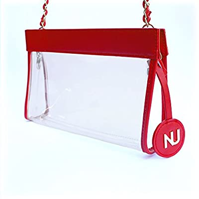 Nu Women Handbags Zoe Red Clear Crossbody Bag, Stadium Event Approved