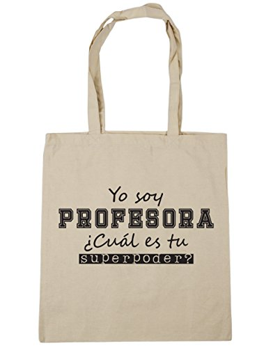 HippoWarehouse Yo Soy Profesora, ¿Cuál es tu Superpoder? Bolso de Playa Bolsa Compra Con Asas para gimnasio 42cm x 38cm 10 litros capacidad Natural