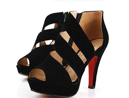 sandali YCMDM estate tacco alto scarpe singole scarpe da donna zipper fine con la piattaforma impermeabile , black , 38