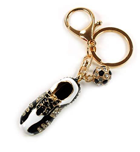 Enamel 3D Soccer Shoe Ball Team Gift Sport Keychain Crystal Handbag Key Charm Car Ring (Gold)
