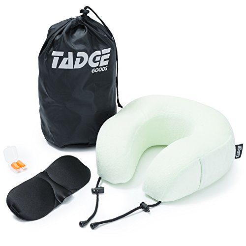 Tadge Goods Neck Travel Airplane Pillow & Accessories – 100% Pure Memory Foam – Sleeping Eye Mask, Ear Plugs, Travel Bag Included – 10 Colors To Choose From by Tadge Goods