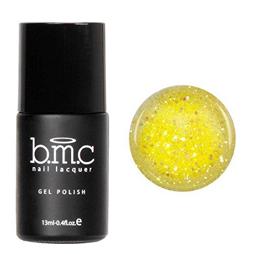 BMC Bright Glittery Sheer Yellow UV/LED Nail Lacquer Gel Polish - Sands of Aruba Collection, Blistering Sun
