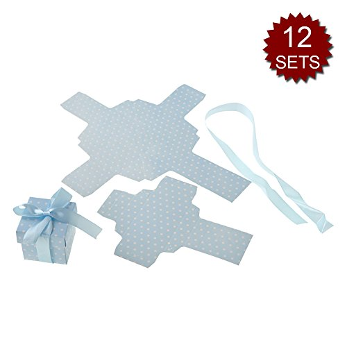 Aspire Set of 48 Gift Box 2'' X 2'' X 2'' Wedding Party Candy Boxes with Ribbon Perfect Gift Idea-Blue-12 Sets by Aspire