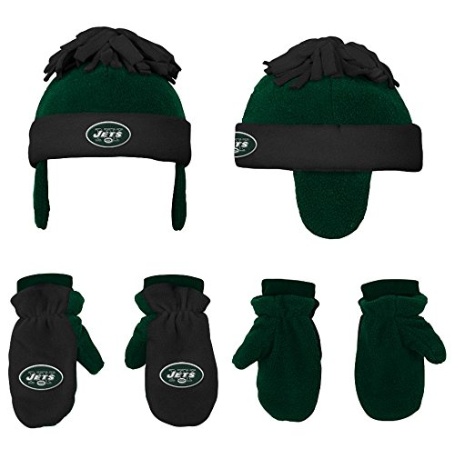 NFL Toddler 2 Piece Winter Set Fleece Hat and Mittens, New York Jets, Hunter/Black -1 Size