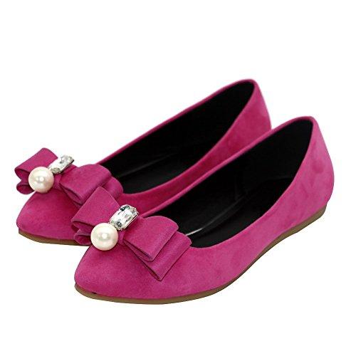 AalarDom Damen Spitz Zehe Ziehen Auf Ohne Absatz Rein Flache Schuhe Rosa-Juwelen