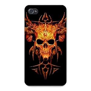 Apple Iphone Custom Case 5 / 5s White Plastic Snap on - Skeleton Skull w/ Devil Horns on Black