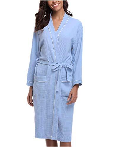 Junebloom Women s Kimono Robes Cotton Soft Lightweight Waffle Bathrobe Short  Sleepwear fc715e0c6