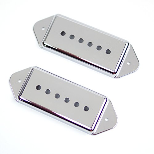 (A Pair of P-90 p90 Dog-ear Pickup Replacement Covers 50mm/52mm ,Chrome Plated /Plastic)