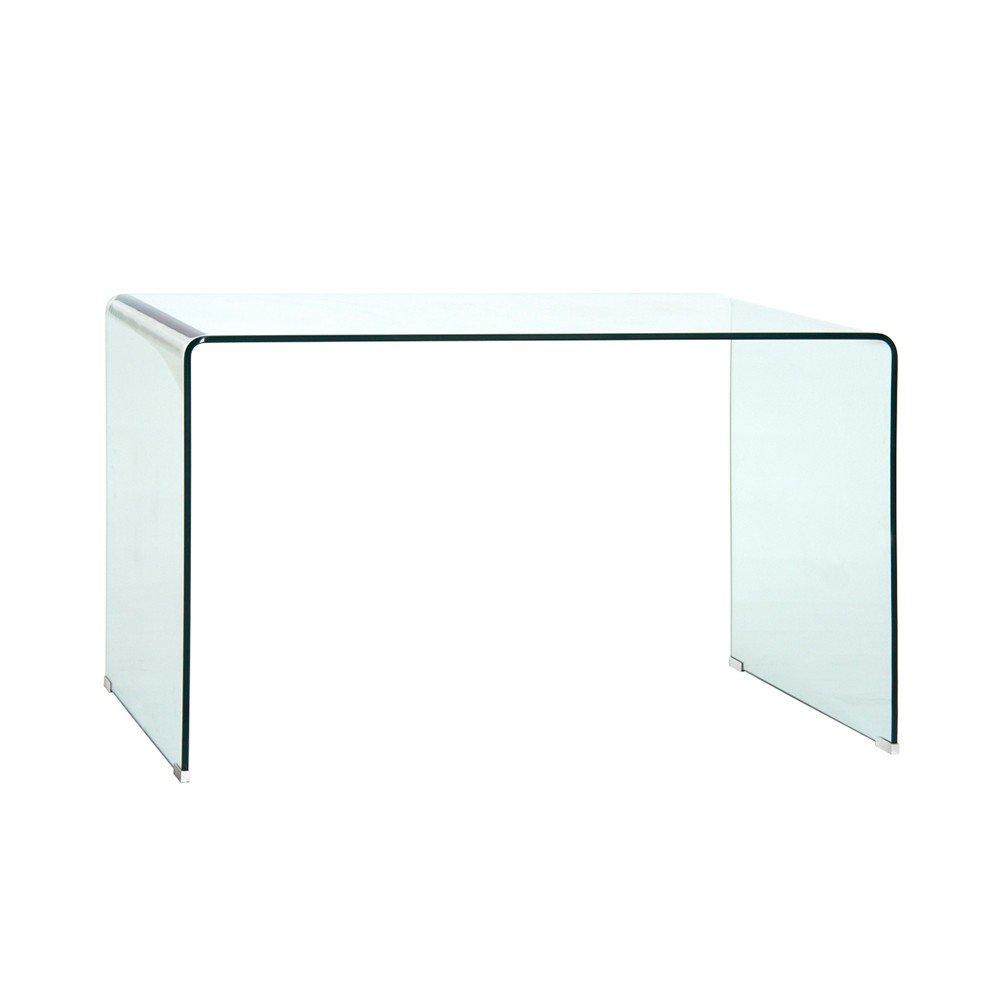 Xenia Homy Schreibtisch Glas Klarglas 125x70cm transparent Glaschreibtisch Arbeitstisch