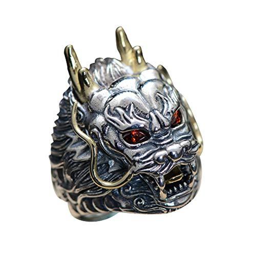 (Jade Angel Sterling Silver Brass 2 Tone Dragon Head Engraved Vintage Ring for Men (8))