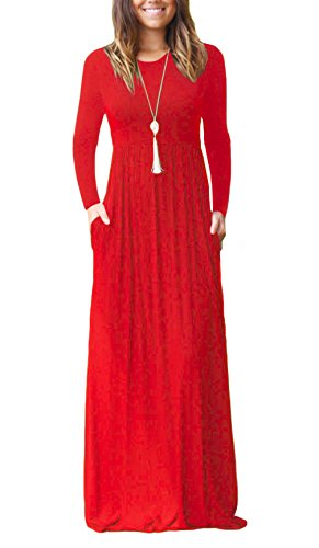 DEARCASE Women Long Sleeve Loose Plain Maxi Dresses Casual Long Dresses with Pockets Red