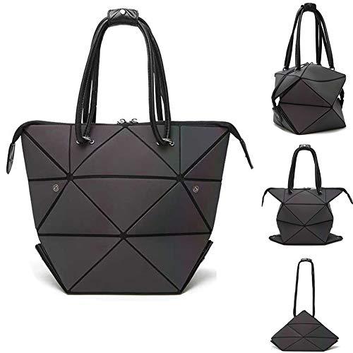 (Geometric Bag Changeable shape Luminous Purses Top Handle Satchel Shoulder Large Handbags Leather Rainbow Holographic Bag (Color-1))