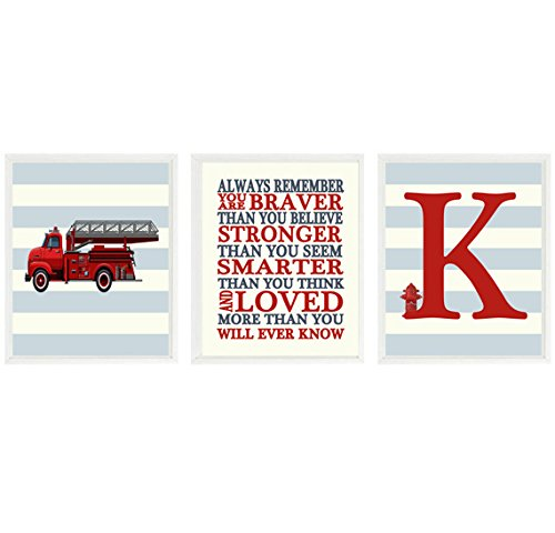 Vintage Fire Truck Art, Baby Boy Nursery, Always Remember Quote, Personalized Name Print, Boy Decor, Big Boy Bedroom, Fireman Decor, Gift