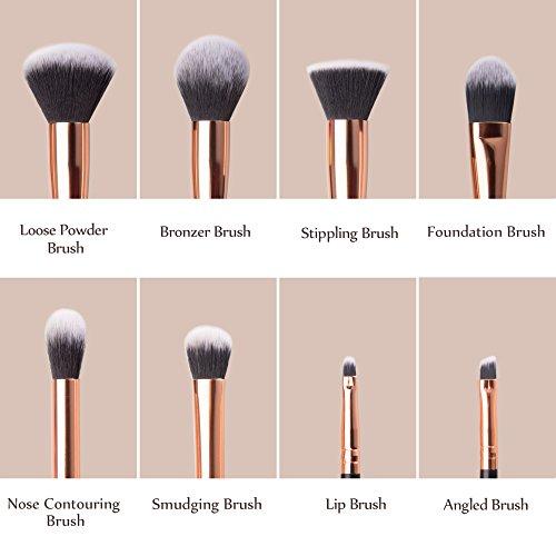 Makeup Brushes Set, Anjou 8pcs Synthetic Makeup Brush for Foundation Blush Contour Concealer Eyeliner Eye Shadow, Rose Gold Design, Waterproof Bag Included