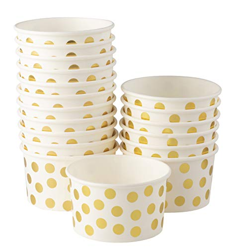 Ice Cream Sundae Cups - 100-Piece Disposable Paper Dessert Ice Cream Yogurt Bowls Party Supplies, Gold Foil Polka Dots Design, 8-Ounce, White (Dots Foil)