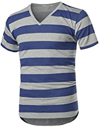 Men's Basic Striped V-Neck Short Sleeve T-Shirt