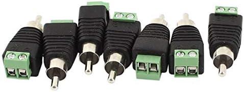 YSSP-A 7×CCTV UTPオーディオAV RCAオス、ビデオバラン端子ねじ、緑、黒