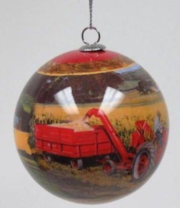 Key Enterprises, Inc. Tractor Scene Ornament, Features Two Farmall Tractor Scenes 12233