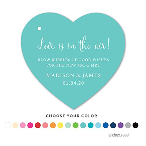 Andaz Press Personalized Wedding Bubbles Favor Gift Tags, Heart, 30-Pack - Custom Made Any Name by Andaz Press