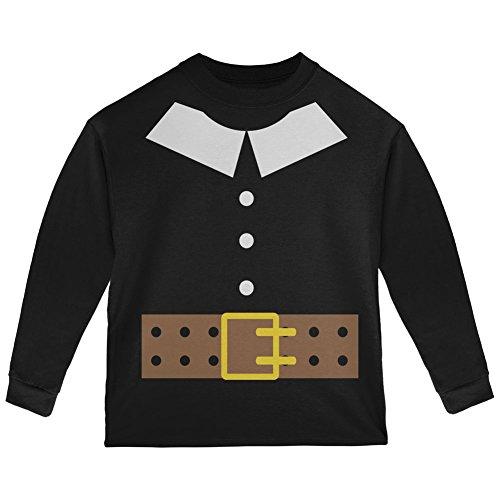 Halloween Pilgrim Costume Black Toddler Long Sleeve T-Shirt - 2T (Pilgrim Costume Toddler)