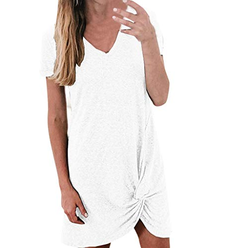 (Sttech1 Women Summer Solid Color Loose Comfy Knot Front T-Shirt Dress White)