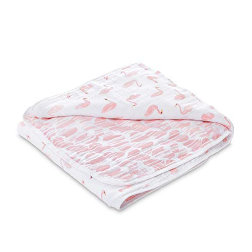 - aden by aden + anais Dream Blanket, 100% Cotton Muslin, 4 Layer Lightweight and Breathable, Large 44 X 44 inch, Briar Rose - Swans