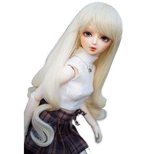 1/6 bjd Doll Wig High Temperature Synthetic Fiber Light Blonde Long Curly Hair Wig for 1/6 BJD SD Doll