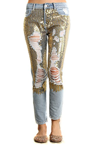 [MeshMe Womens Penelope - Gold Tone Destroyed & Torn Sequined Denim Jeans 30] (Greaser Outfit)