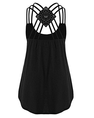 la de Mangas Tomwell Tirantes Impresión C Blusa Chaleco Negro Camiseta de Sin con Tiras Tops Musicales Mujer Música g1Iq7