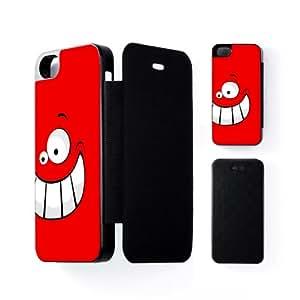 Big Happy Funny Smiling Face on Red Carcasa Protectora Snap-On Negra en Formato Duro para Apple® iPhone 5 / 5s de UltraCases + Se incluye un protector de pantalla transparente GRATIS