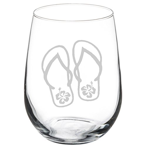 Wine Glass Goblet Flip Flops with Hibiscus (17 oz Stemless)
