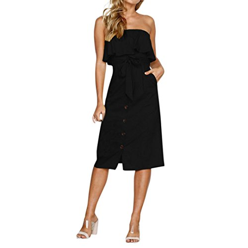 Women Dresses, vermers Ladies Button Off Shoulder Summer Ruffle Belted Frill Dress (XL, Black)