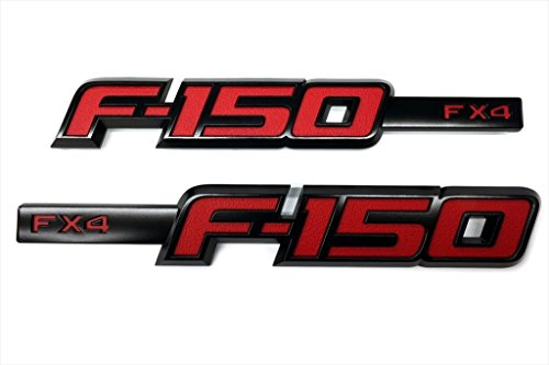 2009-2014 Ford F-150 FX4 Black & Red Fender Emblem 2 Piece Sport Kit OEM NEW
