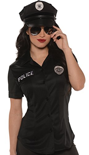 Underwraps Women's Police Fitted Shirt, Black, Small