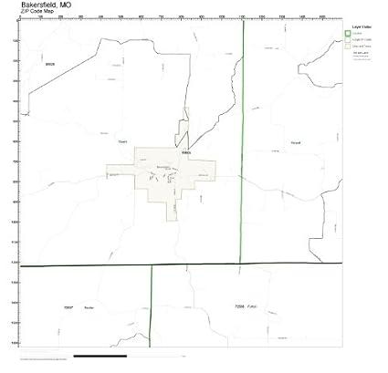 Amazon Com Zip Code Wall Map Of Bakersfield Mo Zip Code Map