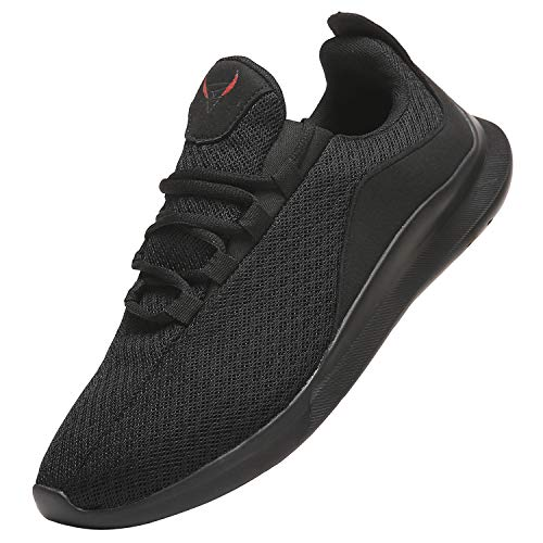 NIUBUFAN Mens Athletic Running Shoes, Lightweight Gym Tennis Sport Walking Casual Sneakers, Breathable Mesh Knit Workout Footwear Zapatos Deportivos Hombres Black Size 9.5