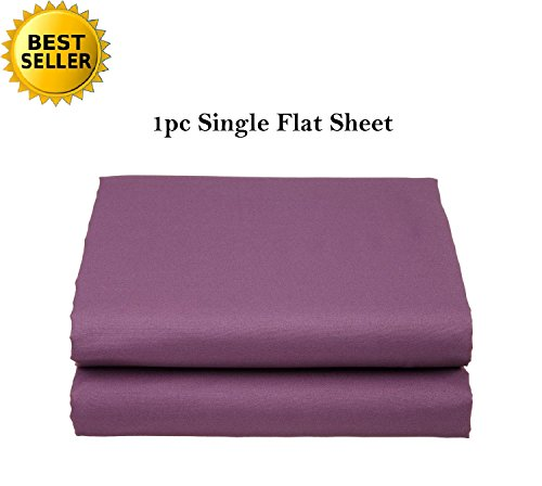 Elegant Comfort Luxury Ultra Soft Single Flat Sheet Special Treatment Construction King, Purple ()