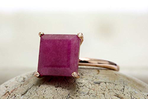 - Anemone Unique Square Rose Gold Ring - Stackable Handmade Ruby Ring With Captivating Effects - Beautiful Handcrafted Ruby Gem In A Delicate Setting [Handmade]