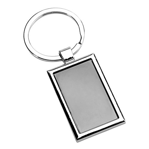 JOVIVI Silver Tone Alloy Rectangle Brand Dog Tag Keychain Key Ring