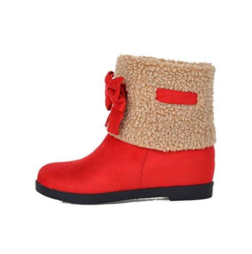 VogueZone009 Damen Mattglasbirne Ziehen auf Rund Zehe Niedriger Absatz Gemischte Farbe Stiefel Rot