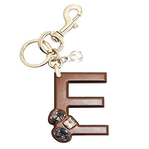 Gucci 'E' Brown Leather Key Ring Handbag Charm with Swarovski Crystals 369479