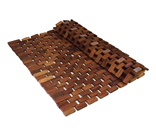 Handcrafted Folding Teak Bath Mat with Non Slip Silicone Feet Easily Rolls Up For Use In And Out Of The Shower