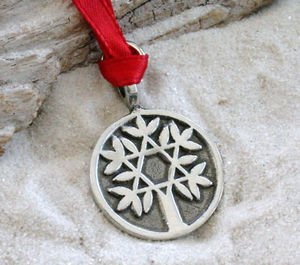 (Pewter Tree of Life with Star of David Christmas Ornament and Holiday)