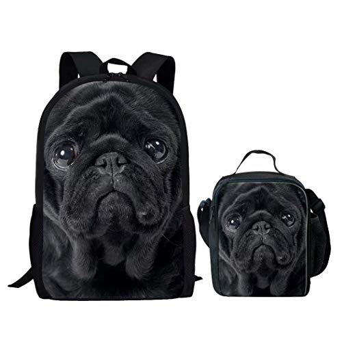Backpack Sets 2 Piece Childern School Bag Bookbag with Lunch Box Shar Pei Pug Face Print