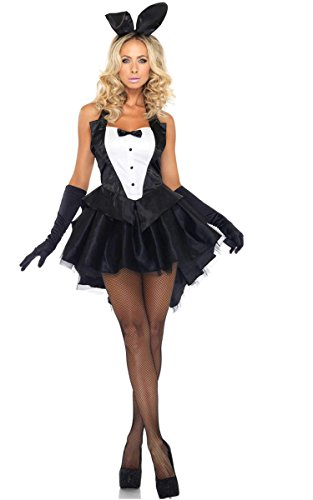 ACEVOG Women 3 Piece Tux and Tails Bunny Tuxedo Costume Ear, Dress and Gloves Outfit