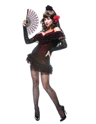 [Paper Magic Womens French Kiss Lady Of Spain Costume, Black/Red, X-Small] (French Kiss Costume)
