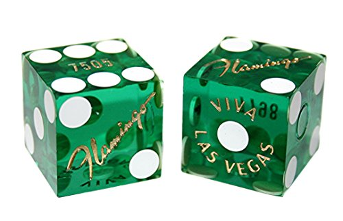 Flamingo Las Vegas - Cyber-Deals Pair (2) Flamingo Casino Las Vegas 19mm Authentic Table-Played Dice (Green)
