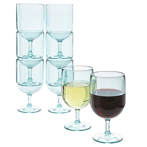 Stackable 8-ounce Plastic Wine Stems | set of 8 Turquoise Mist