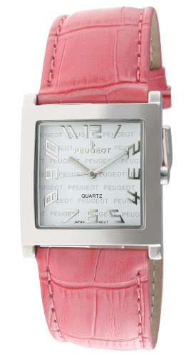 Peugeot Women's 312PK Silver-Tone Pink Leather Strap Watch