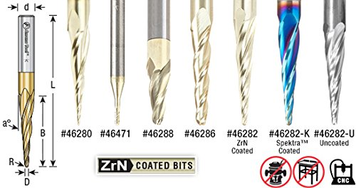 Amana Tool 46280-5, 5-Pack CNC 2D and 3D Carving 6.2 Deg Tapered Angle Ball Nose x 1/32 D x 1/64 R x 1 CH x 1/4 SHK x 3 Inch Long x 3 Flute SC ZrN Coated Router Bits by Amana Tool